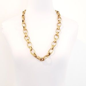 J. Crew Jewelry - J. Crew Necklace Open Oval Link Brushed Gold
